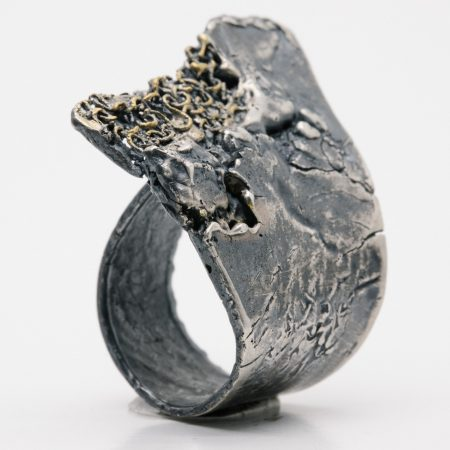 Silver and 24K gold ring