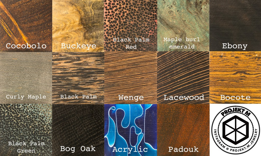 Chose your wood from these