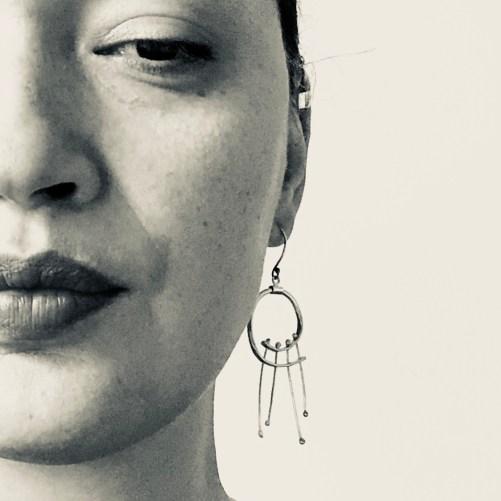 Swirl Hoop Earrings with Fringe