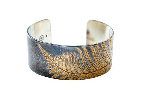 Oxidized silver cuff with 24k gold fern