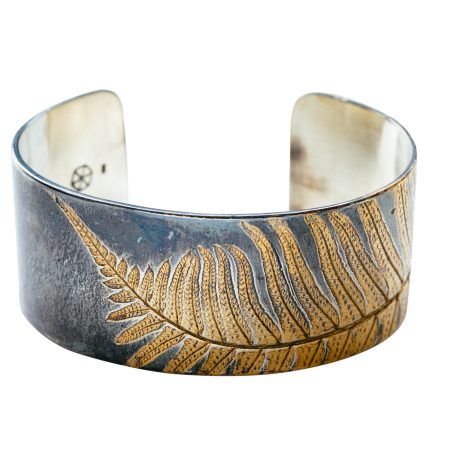 Oxidized silver cuff with 24k gold fern