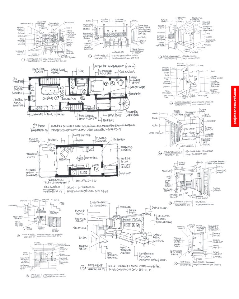 Propositions à main levée design condo. Hand drawing layout draft.