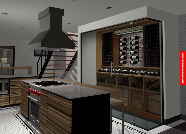 Rénovation sous-sol Design 3D cuisine et cellier • 3D rendered design kitchen + cellar