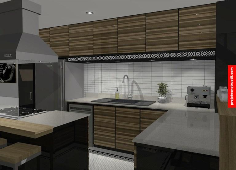 Rénovation sous-sol Design intérieur cuisine ambiance soir • Kitchen interior design evening tone.