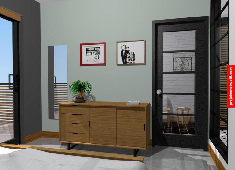 Designer intérieur Design mobilier et aménagement intérieur chambre. Modular and interior bedroom design