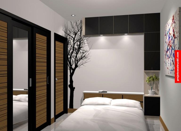 Design 3D de chambre des maîtres espace de rangement et arbre en découpe de vinyle apposé au mur. 3D design of master bedroom showing die-cut tree wall paper and custom modules.