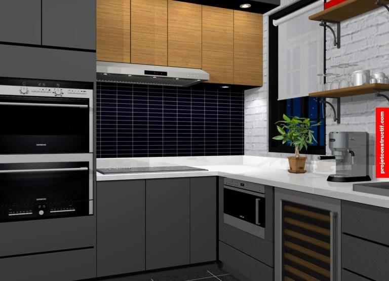 Modélisation 3D design cuisine. 3D rendering kitchen design