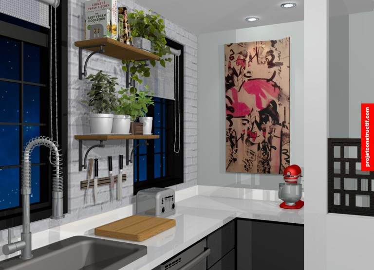 Rendu 3D cuisine angle 4. 3D render kitchen draft