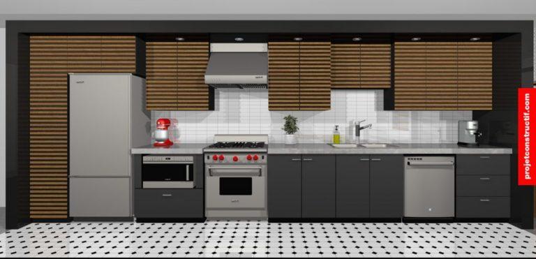 Rendu 3D d'une cuisine située dans un espace en longueur.