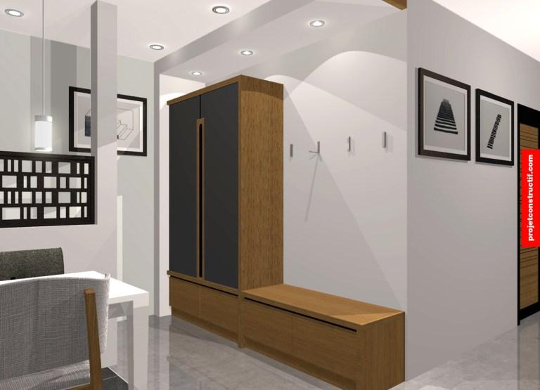 Design 3D entrée principale mobilier et accueil. Residence 3 main entrance design
