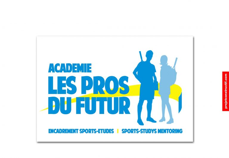 Logo design graphique académie de tennis Les Pros du Futur. Bleu, bleu pâle et jaune, 2 personnages, garçon et fille, avec sac à dos et manche de raquettes qui dépassent. Design graphic logo of tennis academy The Pros of the Futur. Bleu, light blue and yellow, 2 individuals, guy and girl, racquet handle exceeding backpack bag.