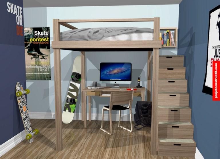 Aménagement chambre garçon rendu 3D. Teenage boy bedroom 3D rendering