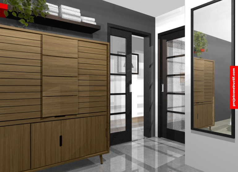 Design mobilier et aménagement intérieur chambre. Modular and interior design bedroom.