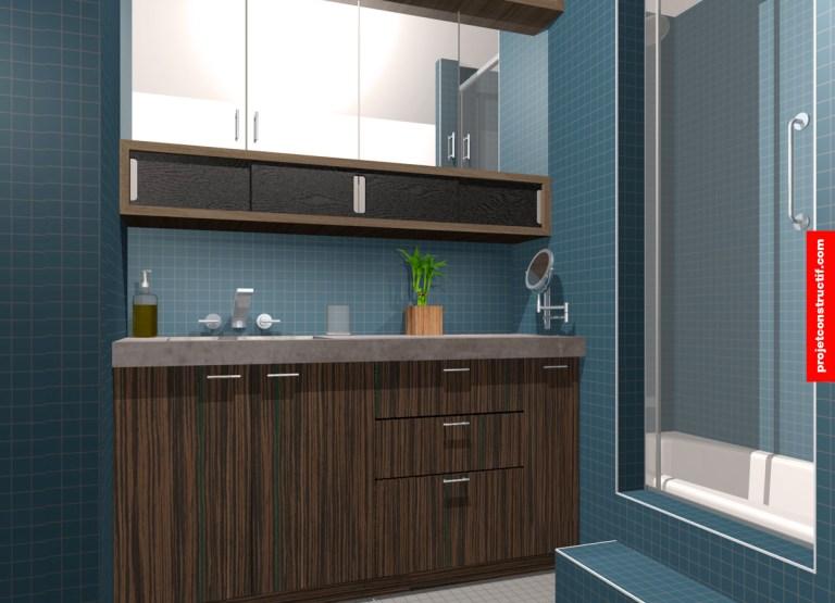 Modèlisation 3D salle de bain comptoir béton • 3d modelling washroom design
