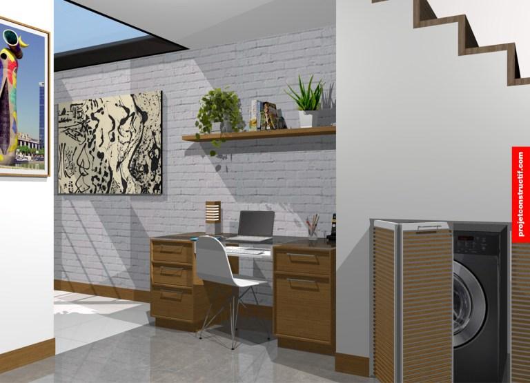 Présentation 3D d'un espace aménagé d'un bureau de travail avec ordinateur, une parole murale ornée de maçonnerie blanche, d'un puit de lumière et d'appareils de buanderie dissimulé sous escaliers. 3D illustration showing office desk incorporated to back entrance area with skylight and existant white bricklaying wall.