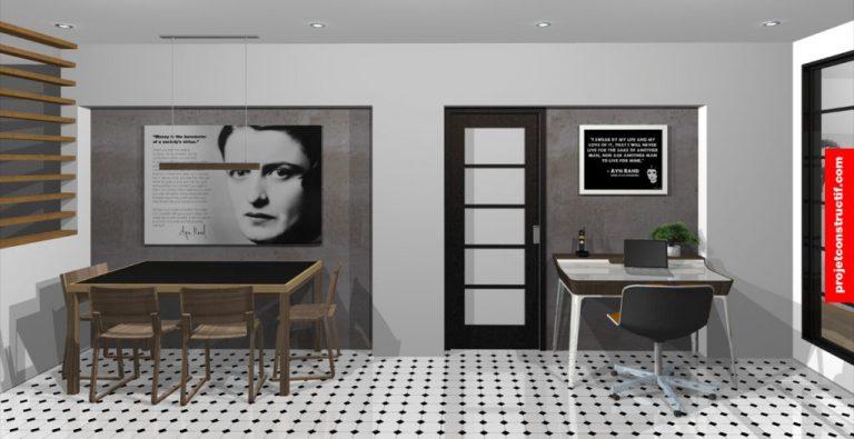 Perspective 3D salle à manger et bureau lumière de jour • Daytime tone 3D perspective of dining area and working space