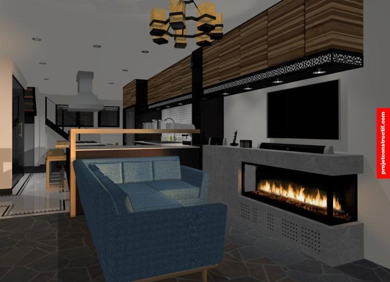 Rénovation sous-sol Illustration rendu 3D d'un salon et foyer atmosphère foyer • Rendered 3D illustration of living-room with fireplace night time atmosphere