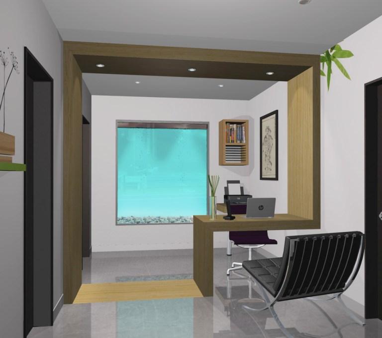 Aménagement intérieur Design intérieur local aire d'accueil. Interior design of reception area drawn in 3D.