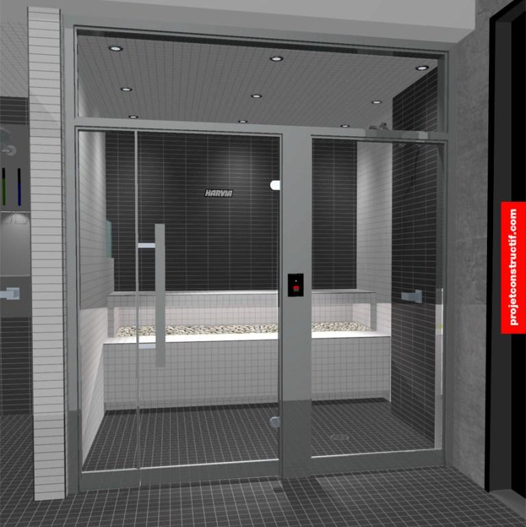 Aménagement intérieur Illustration 3D bain vapeur, angle rapproché. 3D image, close angle of steam bath.