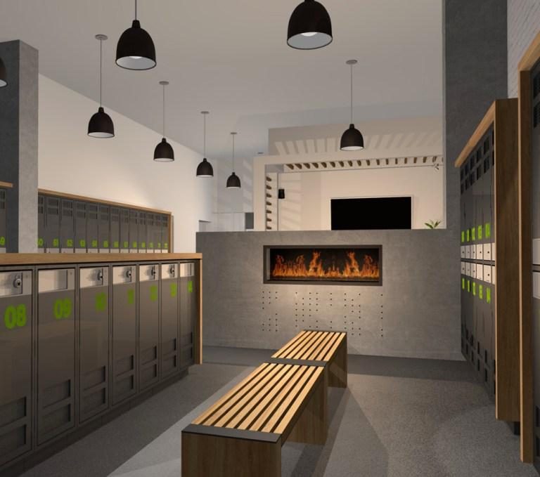 Aménagement intérieur Image comportant foyer et casiers vestiaire hommes. Men's locker-room image showing fireplace.