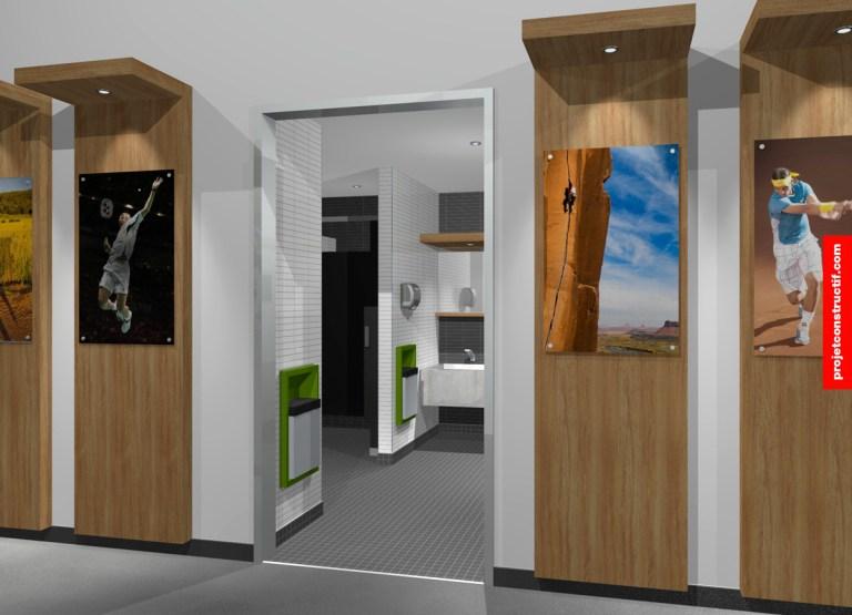 Aménagement intérieur Rendu 3D illustrant entrée espace sanitaire et couloir. 3D rendering illustrating hygienic area access + n-count.