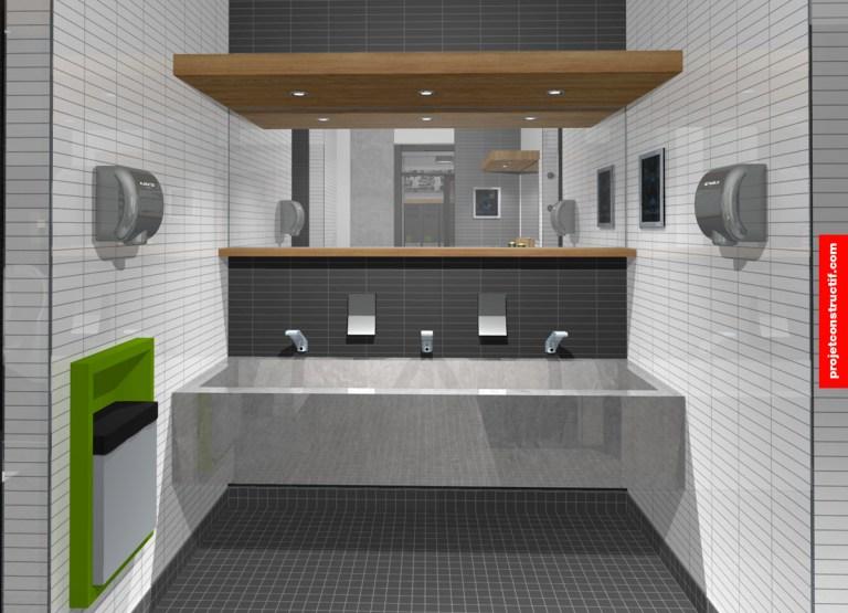 Aménagement intérieur dessiné de l'espace sanitaire comportant le lavabo. Sink location and sanitary layout illustrated in 3D.