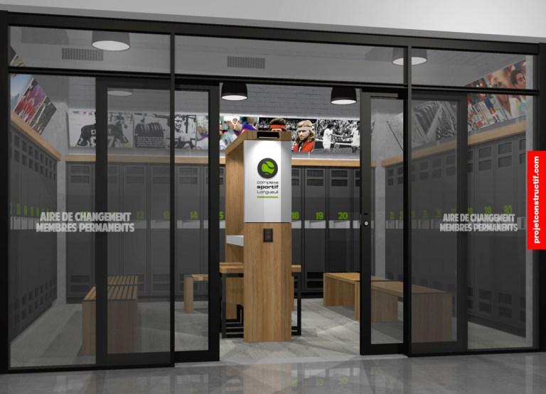 Aménagement intérieur Aménagement illustré de l'espace de changement des membres permanents. 3D drawing proposition of premnium membership detainers.