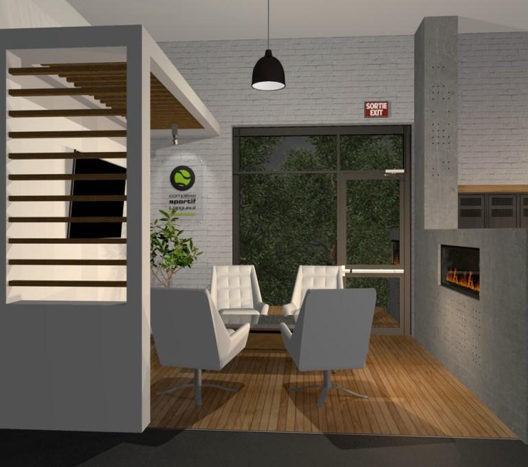 Aménagement intérieur Interior design of lounge and fireplace