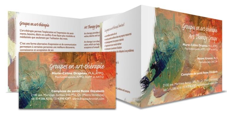 Design graphique. Image montrant outils graphiques servant à la promotion de séances d'arts-thérapie. Art therapy graphic tools production.
