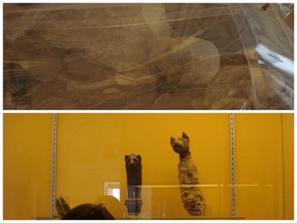 Acima uma pessoa e abaixo um gato - ambos mumificados