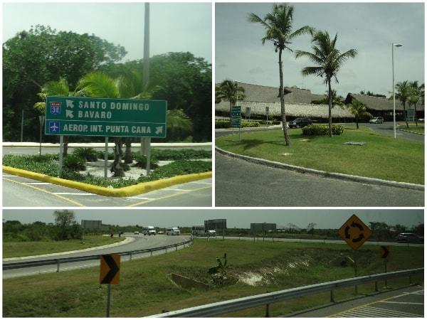 Embaixo, a estrada entre Santo Domingo e Punta Cana e, em cima, passando pelo aeroporto de Punta Cana