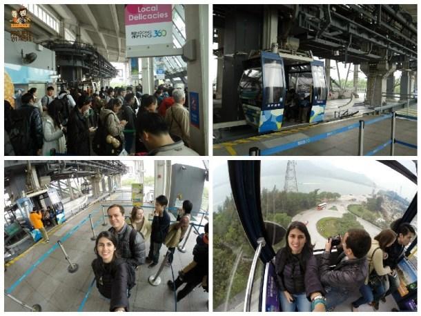 No sentido horário: fila para o cable car, standard cabin, aguardando a chegada do teleférico e dentro da standard cabin