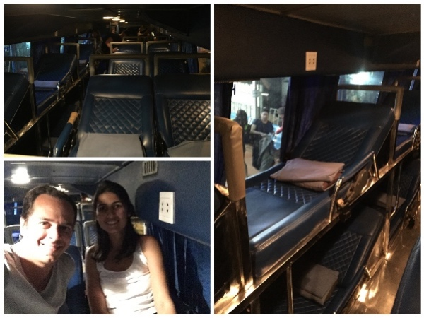 Dentro do ônibus: camas de casal e de solteiro