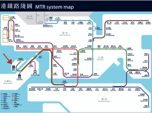 Mapa MTR Hong Kong