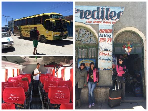 Do lado esquerdo, o ônibus que pegamos de Uyuni a Potosí e do lado direito o local onde compramos as passagens do ônibus