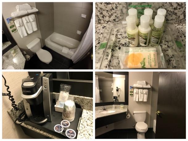 Amenidades e banheiro do holiday inn montreal