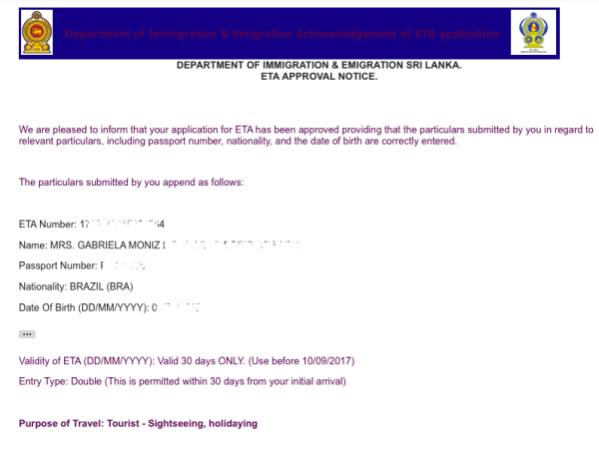 Carta de aprovação ETA Sri Lanka