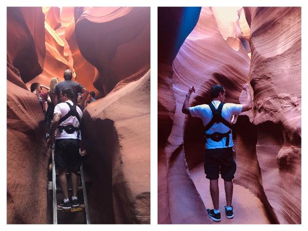 Escadas e passagens do Lower Antelope Canyon