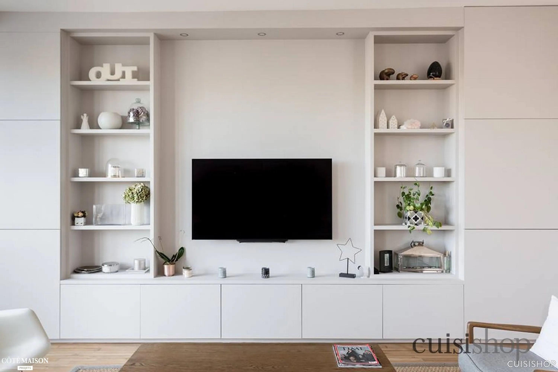 agencement sur mesure meuble tv bibliotheque cuisishop cote maison
