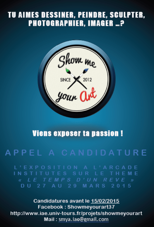 Flyer pour la candidature d'étudiants à l'exposition Show Me Your Art