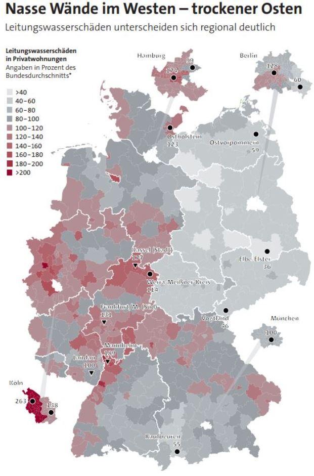 In keiner anderen Stadt platzen so häufig Rohre, lecken Armaturen oder laufen Heizboiler aus wie in Köln. Quelle: GDV
