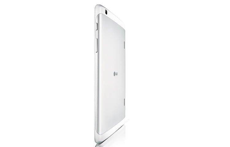 Mặt lưng máy tính bảng LG G Pad 8.3 màu trắng nhìn nghiêng