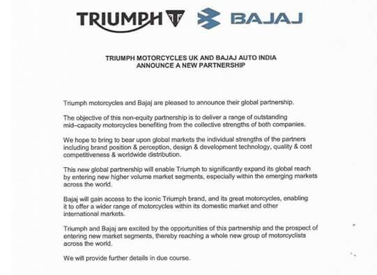 Bajaj dan Triumph Mengumumkan Kerjasama Global