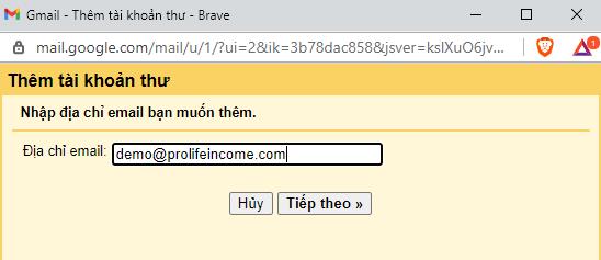 Nhập địa chỉ email theo tên miền