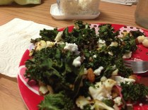 Kale salad with feta and walnuts
