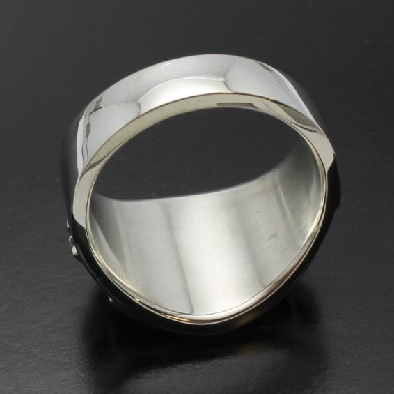 Masonic Ring For Men In Sterling Silver Cigar Band Style