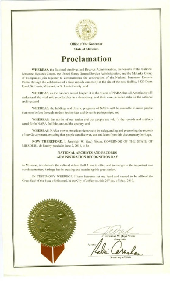 Governor Jay Nixon declared June 2, 2010 as National Archives and Records Administration Recognition Day in Missouri