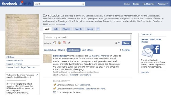 The Consitution's own Facebook page!