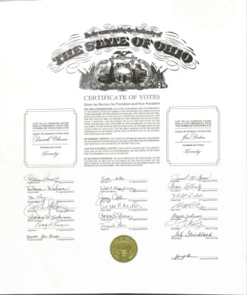 Ohio Certificate of Vote from the 2008 election