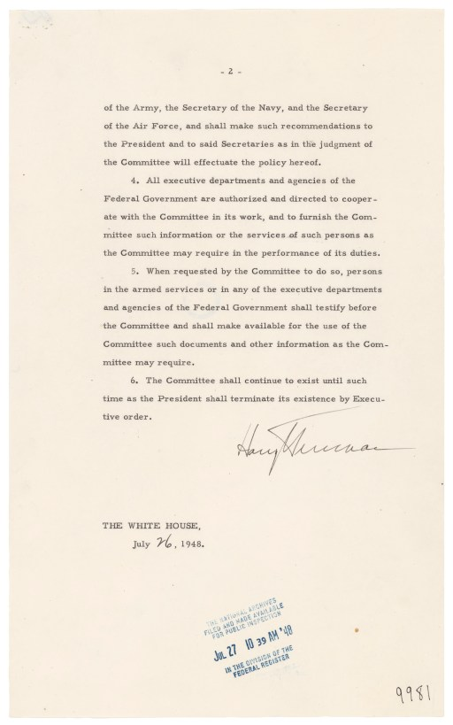 Page two of Executive Order 9981, July 26, 1948